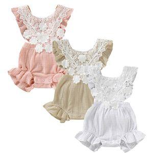 Ropa de diseñador del bebé recién nacido Infant Baby Girl Summer Fold Ruffle Lace Color sólido Empalme Sin mangas Mono Chicas de cuello redondo Mameluco