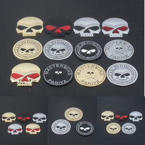 Voiture Logo Metal Skull 3D Autocollant Modified Alloy Crâne Autocollants Carrosserie Queue Autocollants moto Emblem Badge Autocollants Logo