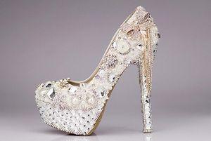 Alta qualità lussuosa elegante cristalli e perle vestito da sposa scarpe da sposa cristallo diamante scarpe a tacco basso donna donna vestito scarpe da donna
