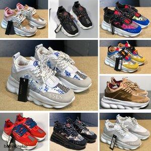 Versace chain Reaction Drop Shipping Hight qualidade Novos esportes dos homens Running Shoes Black White Men melhores Atlético pé Tênis Grey Man Sapatilhas Training