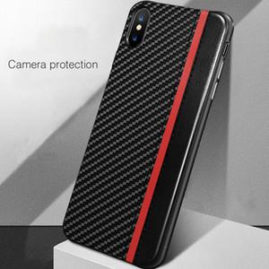 Luxus-PU-Leder-Telefon-Kasten für iPhone X XS MAX XR 7 8 Plus 6s 6 Mosaik Carbon Fiber Gehäuse PC Stoß- Back Cover Coque