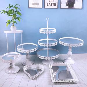 6 قطعة / المجموعة الاكريليك مرآة الزفاف 3 الطبقة عرض كب كيك الوردي الذهب والفضة الأبيض معدن حامل الكعكة