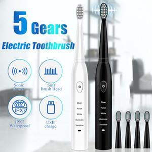 Acústico ultrasónico cepillo de dientes eléctrico recargable lavable cepillos de dientes electrónicos blanquear los dientes Cepillo Cepillo de dientes para adultos temporizador 4 colores D
