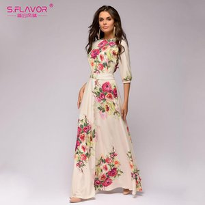S.FLAVOR Floral Printed Women Long Dress Bohemian Style Summer Maxi Vestidos De 2020 New Women Casual Dress MX200518