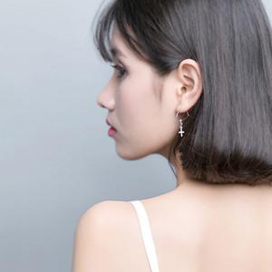AROCH S925 Silver Love Earring Female Korean version Fresh cut hollow heart-shaped cross ear ring sweet ear ornaments E9593