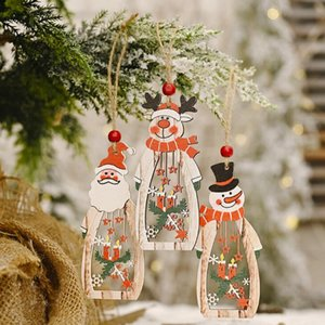 Christmas Tree Decoration Hanging Wooden Hollow Santa Snowman Reindeer Carve Pendant Ornaments Xmas Holiday Party Favors LX2346