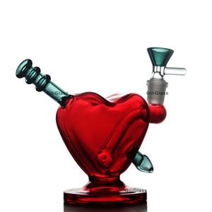 yağ ile kırmızı kalp su kurulamak kulesi bonglar boru bong Sevgililer Günü hediyesi cam kuvars Banger'ı ot kase Pervane sigara aksesuarları kuleleri