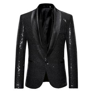 Veste de costume de mode Bouton unique Hommes Blazer plus Hommes Veste Paillettes solides avec le bouton Scénographie