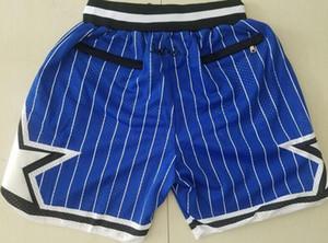 Nuovo Shorts squadra Shorts 92-93 Vintage Baseketball Shorts Pocket Zipper corsa vestiti blu nero banda bianca di colore appena fatto formato S-XXL