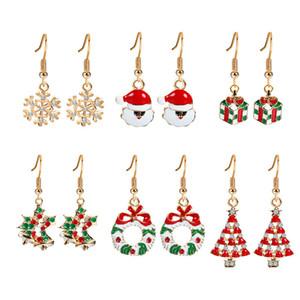 Moda Yüksek Kalite Noel ağacı kar tanesi Küpe Seti Noel Geyik Küpe Seti sevgililer Günü Tatil Hediyeler 6 Pairs çok HJ237