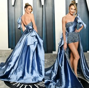 Zuhair Murad 2020 One Shoulder Evening Dresses Beading Jumpsuits Ruched Sweep Train Prom Gowns robe de soiree Runway Fashion
