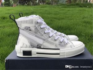 Box 36-46 ile B23 Yüksek Top Sneaker Teknik Kumaş Eğik Platformu Casual Ayakkabı Erkek 19SS Beyaz Siyah Dana derisi İYİ Tuval Ayakkabı