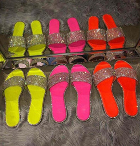 Summer Flip Flops Women Crystal Slippers Glitter Flat Diamond Bling Bling Female Candy Color Indoor Ladies Slides Hot Beach Shoes D62202