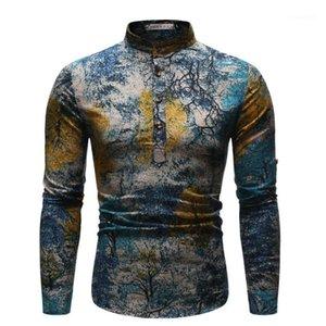 Etnik Stiller Erkek Gömlek Yıldızlı Gece Mens Casual Giyim Yağ Homme Styles Boyama yazdır Tops