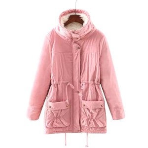 Stand Up Collar Warm Outwear Solid Fashion Daily Winter Parka Slim Cotton Blend Adult Women Jacket With Pocket Windproof