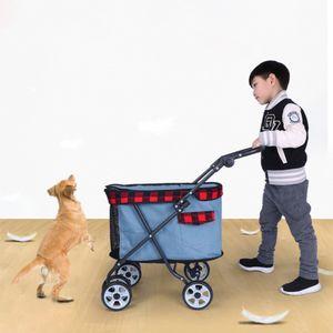 DODOPET Dog Pet Stroller Dog Pet dobrável portador Passeando gato ao ar livre Transportador Cesto Quatro Stroller rodas