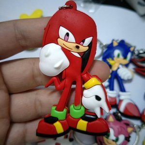 Japanese anime Sonic the Hedgehog Keychain PVC Dijiao Keychain sonic double PVC Keychain 6 style wholesale Costume Collectible