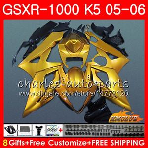 Kit + COWL POUR SUZUKI GSXR 1000 GSX-R1000 GSXR1000 2005 Body 11HC.86 GSXR-1000 05 06 K5 Bodywork GSX R1000 05 06 Carécages Glossy Golden