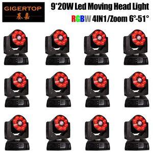 12 Units 9x20w Moving Head Sahne Işıkları Led Dj Işık Yıkama zum efekti 7 * 12w RGBW 4 Renk Sahne Weddingled Led Işın Işıklar dmx512