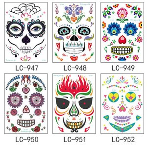 Facial makeup Sticker Special Waterproof Face tattoo Day of The Dead Skull Face dress up Halloween Temporary Tattoo Stickers