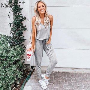 Nadafair casual rompers womens jumpsuit sleeveless slim drawstring summer high waist jumpsuits women street wear long trousers