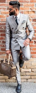 Silver Bespoke Fashion Double Breasted Suit Tuxedos Slim Fit Blazer Men Fashion Terno Masculino(Jacket+Pant+Tie+Handkerchiefs)