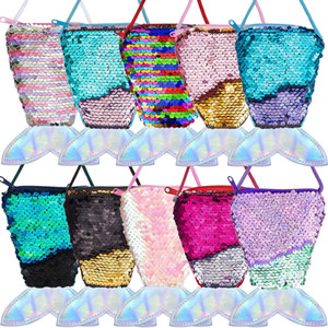 10 Pieces Mermaid Tail Coin Purse Mermaid Tail Sequin Crossbody Coin Wallet Bags for Kids Little Girls Mermaid Party Birthday Gifts