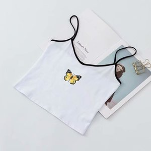 2020 New women's sexy V-neck butterfly print camisole short exposed navel vestButterfly Graphic Cami Top