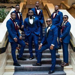 2019 Royal Blue Mens Suit da sposa Groomsman Suit Blazer + Pantaloni + Gilet Groom Tuxedo Best Man Suit Mer Smoking per uomo