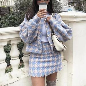 2018 Женщины Vintage юбка наборы Зимняя женская шерстяная твидовый пиджак + короткие юбки костюмы Элегантный Две пьесы Комплекты T190612