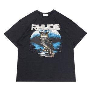 테스트 패션 Rhude 느슨한 세척을 통해 2020 미국 Rhude 거리 조수 이전 복고풍 오버 사이즈의 반팔 티셔츠 유럽과 미국을 할 수