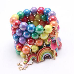 28 Styles für Kinder Regenbogen nette Armband-Kind-Mädchen Bunte Perlen-Armband mit Pferdeherzanhänger Geburtstags-Party-Geschenk-Kind Schmuck M1858