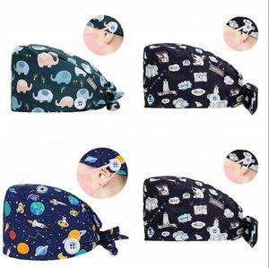 desenho animado chapéu de algodão Beanie Scrub Cap Impresso ajustável com botão para o rosto gancho máscara fivela mulheres cozinha Partido LJJA4121 chapéu