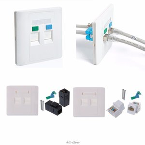 omputer & Office Computer Cables & Connectors 2 Ports CAT5e   CAT6 Modules RJ45 jack Network Wall Plate With Female to Female Con...