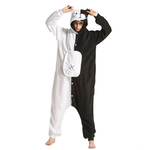 أسود أبيض الدب Kigurumi الحيوان نيسيي Danganronpa Monokuma بيجامة المرأة الكرتون الكبار ملابس البدلة الصوف القطبية ملابس CJ1911108