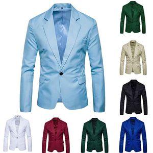 Costume homme en gros-Casual solide bouton One Men Red Blazer Extérieur Slim Fit Jacket Man Manches Longues 8 Couleur Bonbons Costumes Plus la taille M-XXXL