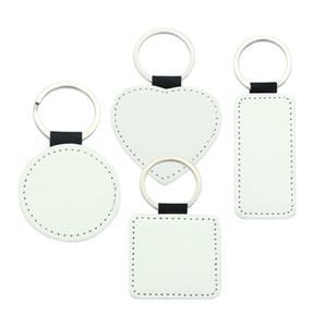 porte-clé Sublimation blanc PU cuir porte-clefs transfert à chaud d'impression porte-clés à simple face imprimée porte-clé bande diy 4styles A03