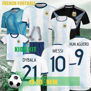 Gömlek 9. Aguero DYBALA 9 20 10. MESSI kısa kollu futbol Gömlek 2020 Tay Copa America Arjantin Ana Mavi Beyaz Futbol Jersey 1 Futbol