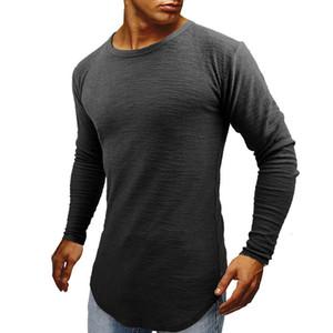 Mens Designer à manches longues T-shirt Homme Fashion Slim T-shirts Pure Color Crew Casual Vêtements cou