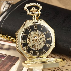 2020 New Classic Hexagonal Mechanical Pocket Watch FOB Chain Steampunk Roman Dial Skeleton Golden Hollow Steel Mens Pocket Watch