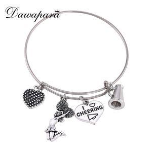Dawapara Round Shape Heart And Cheerleader Pendant Bracelets For Girls Adjustable I Love Cheering Charm Bracelets For Women