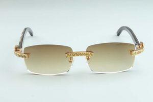 2020 Hot vente diamants Xl haut de gamme de lunettes de soleil texture noire temples corne de buffle naturel C-3524012-b pour unisexe, taille: 56-18-140 mm