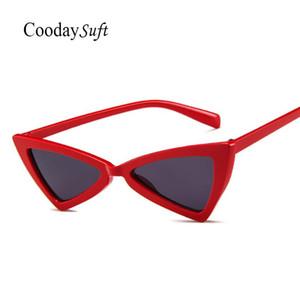 Coodaysuft Женщины Cateye Vintage солнцезащитные очки конструктора тавра Симпатичные дешевые солнцезащитные очки Женщины Lady Eyeglass Малый размер Интернет