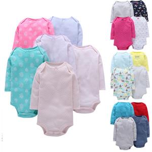 Bebê 4 unidades-pack de manga comprida Bodysuit Para Bebes Infantil Menino Menina 4pcs 6pcs-pack de algodão macio Jumpsit Set J190427