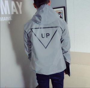 New Jacket for Men Reflective Winderbreaker Jacket Women Hooded Polyester Fibre Long Sleeve Hooded Sweatshirt Size S-XXL 20811817