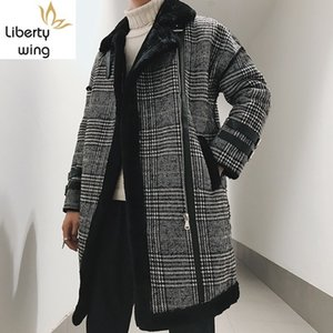 Men Suede Cotton Mäntel Herbst-Winter-lose starke warme Oberbekleidung Mode Street Plaid Zipper Langarm Trench Coat