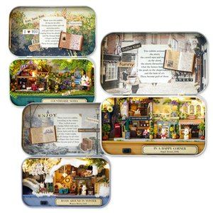 Handmade 3D Box Theatre Nostalgic Theme Miniature Scene Wooden Miniature Puzzle Toy DIY Doll House Furnitures Children Play Toys Y200413