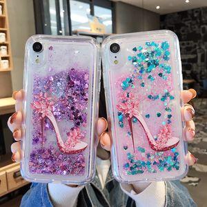 Quicksand Liquid Girl High Heels Shoe Design Soft Phone Case For iPhone XS Max XR XS X 8 7 6 6S Plus