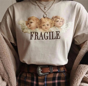 Kuakuayu HJN Ange Fragile Baiser Peinture Femmes Tumblr Mode Mignon T-Shirt D'été Casual Manches Courtes Imprimé Tee