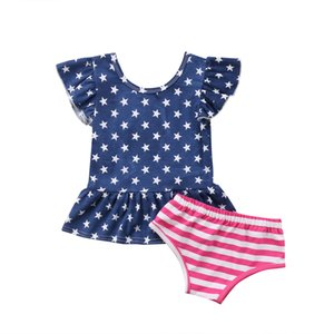 Säuglingskleinkind-Baby 4. Juli Clothes amerikanische Flagge Short Sleeve Top Independence Day Dress + Shorts Sommer Outfit